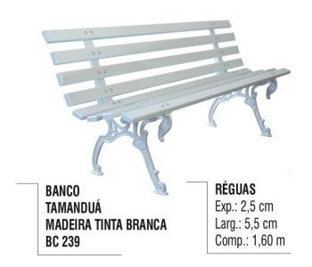 Banco Tamanduá Madeira Tinta Branca