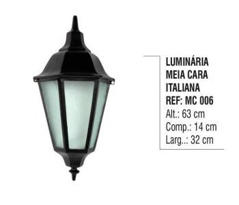 Luminária Meia Cara Italiana