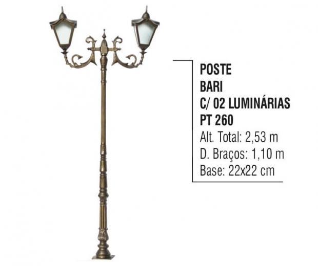 Postes Bari com 02 Luminárias