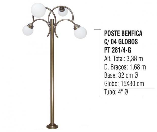 Postes Benfica com 04 Globos
