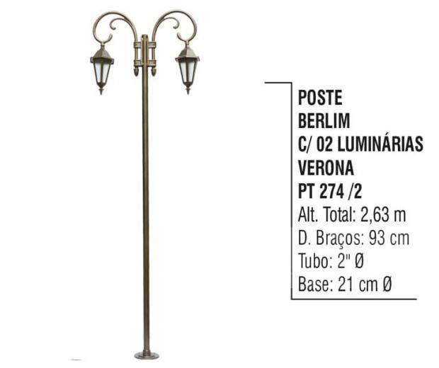 Postes Berlim com 02 Luminárias Verona