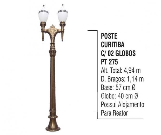 Postes Curitiba com 02 Globos