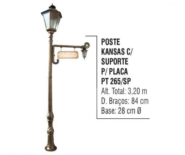 Postes Kansas com suporte para Placa