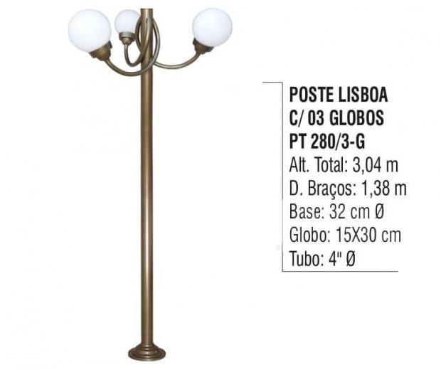 Postes Lisboa com 03 Globos