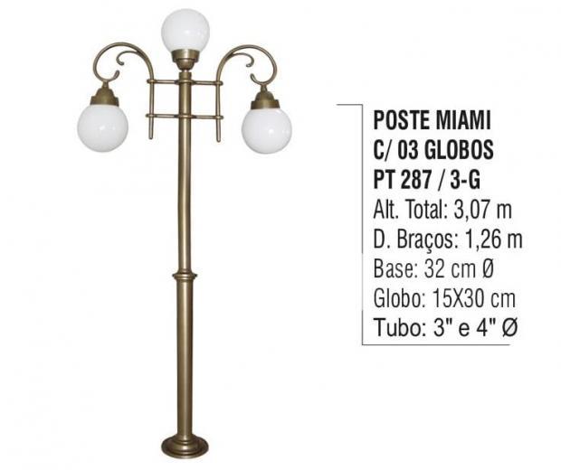 Postes Miami com 03 Globos