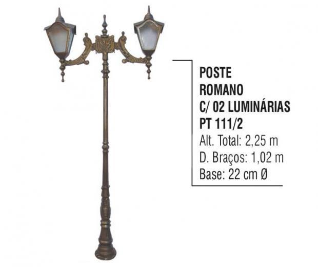 Postes Romano com 02 Luminárias