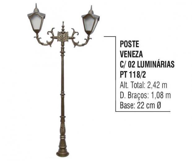 Postes Veneza com 02 Luminárias