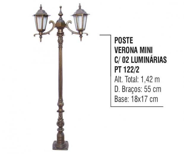 Postes Verona Mini com 02 Luminárias